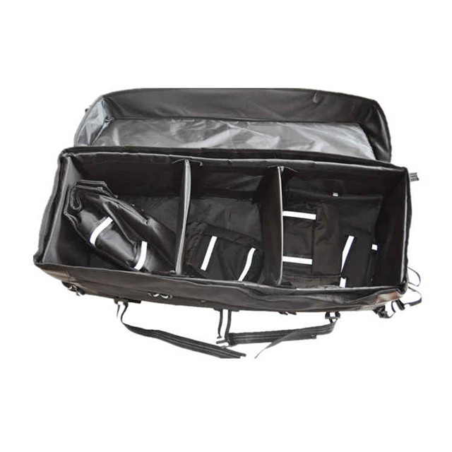ATV Rear Bag with with Topside Bungee Tie-Down Storage Padded-Bottom Multi-compartment Black
