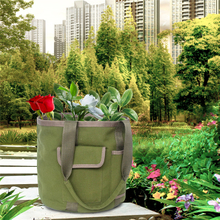 Double Handle Canvas Gardening Tote Bucket Tool Bag