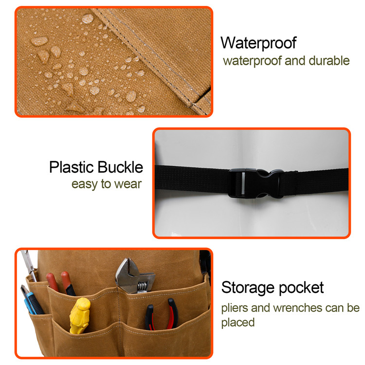 Durable Waterproof Utility Working Waxed Canvas Tool Apron with Pockets