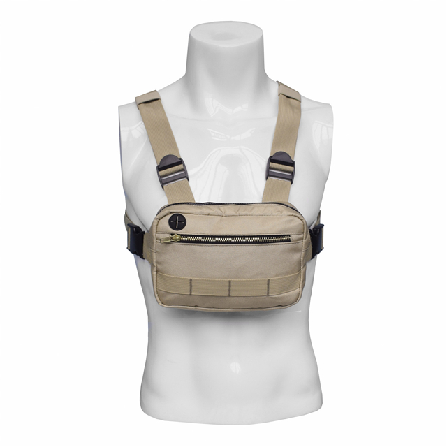 Khaki 1000D Nylon Tactical Military Chest Phone Rig Bag with Headphone Hole