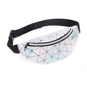 Sturdy Durable Fashion Holographic Shiny Plaid Fanny Pack for women Party Festival