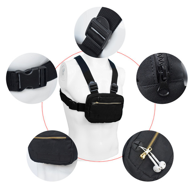Outdoor Custom Front Chest Bag with Headphone Holes