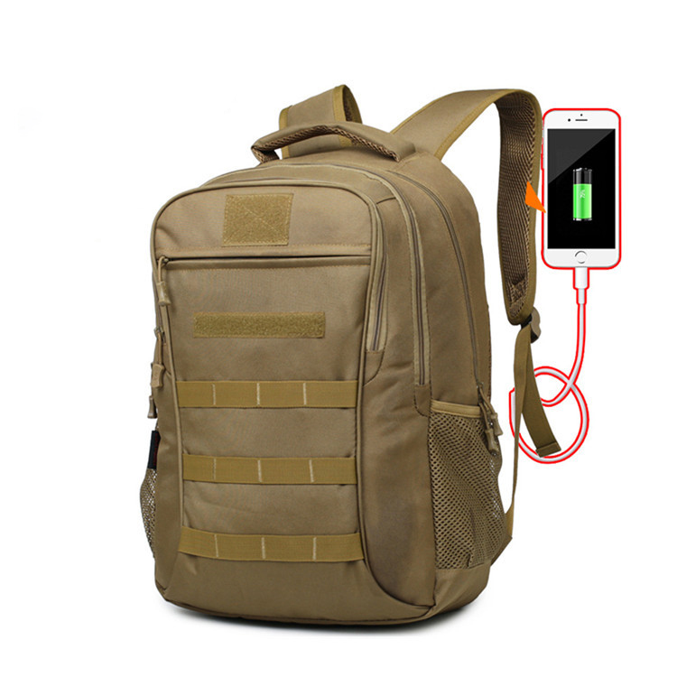 Waterproof Camouflage Army Tactical Backpack Outdoor Hiking Bag with USB and Headset Extension Cord