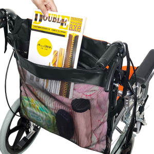 6 Pockets Adjustable Wheelchair Back Travel Storage Organizer Bag with Large Capacity Mesh Pouch Bag